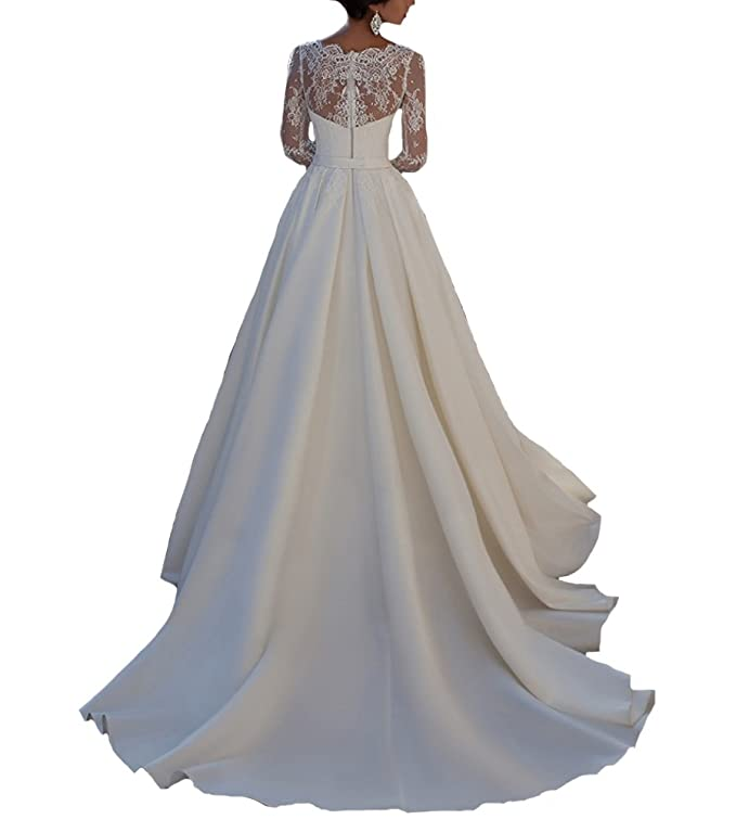 Beauty Bridal Lace and Satin V Neck Long Sleeves Wedding Dresses at Amazon Womens Clothing store: