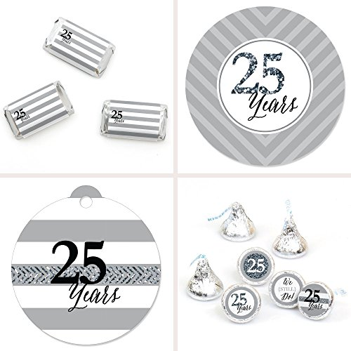 Happiness Wedding Favor - Big Dot of Happiness We Still Do - 25th Wedding Anniversary Party Decorations Favor Kit - Party Stickers & Tags - 172 pcs