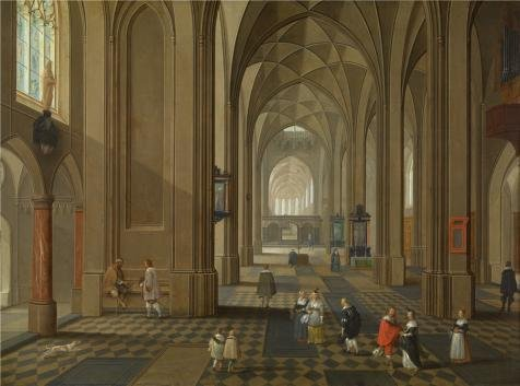 France National Dress Costume (Oil Painting 'Pieter Neefs I- Interior Of A Church, First Half Of 17th Century' 10 x 13 inch / 25 x 34 cm , on High Definition HD canvas prints is for Gifts And Dining Room, Laundry Room And L decor)