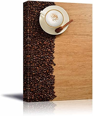 A Cup of Cappuccino and Coffee Beans on Old Wooden Board Wall Decor