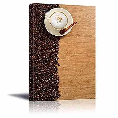 Canvas Prints Wall Art - A Cup of Cappuccino and Coffee Beans on Old Wooden Board | Modern Wall Decor/Home Art Stretched Gallery Canvas Wraps Giclee Print & Ready to Hang - 48