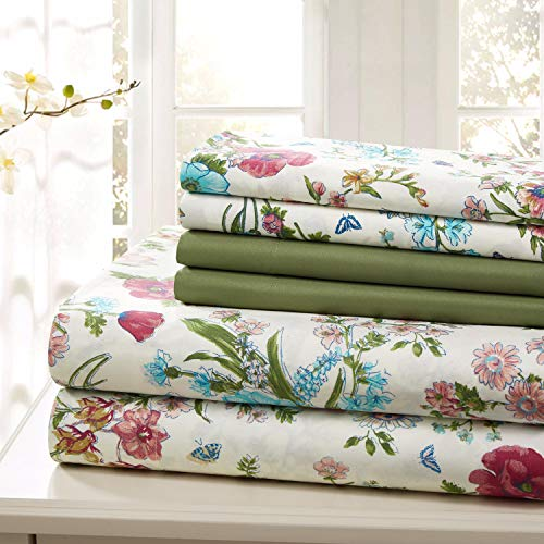 (Traditional Home Sheet Set Cotton Percale 6 Piece Print Twin Full Queen King Soft (Green Flower, Queen))