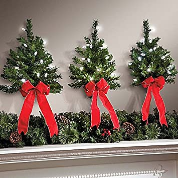 set of 3 led white lights w timer wireless battery operated wall hanging swag wreath - Amazon Christmas Tree