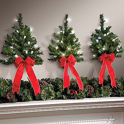 Set Of 3 Led White Lights W Timer Wireless Battery Operated Wall Hanging Swag Wreath Christmas Tree Decor Red Bow Faux Pine Greenery Indoor Home