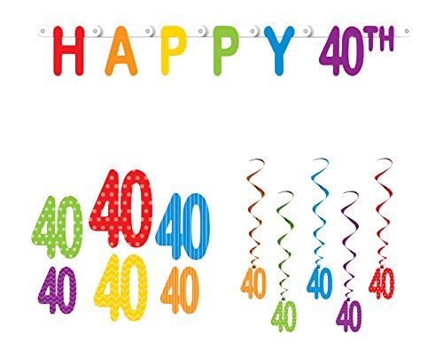 Happy 40th Birthday Party Decoration Bundle with Banner, Cutouts, and Whirls ()