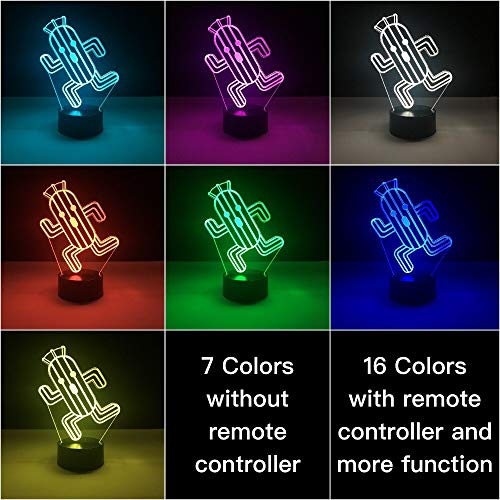GuGuDass Toy 7 Color / Final Fantasy - Cactuar Led Night Light Color Changing Table Lamp Decor Kids (with Remote (16 Color))