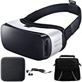 Samsung Gear VR Virtual Reality Headset - SM-R322NZWAXAR - Ear Buds/Bag/Charger Bundle includes Gear VR Headset, Metal Ear Buds, Gadget Bag and Mini Wireless Charging Pad