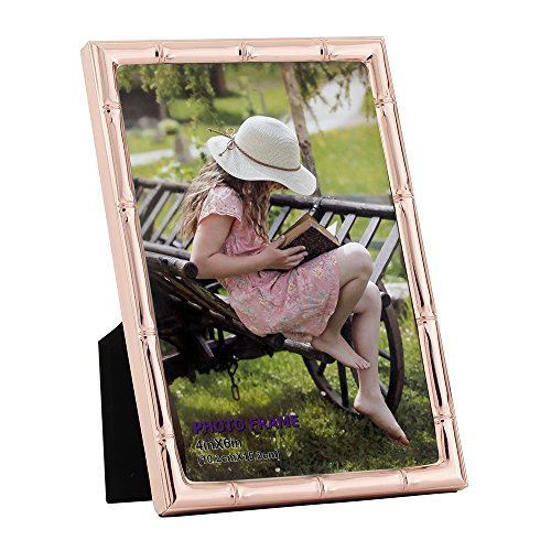 4x6 Picture Frames Made of Metal (Steel) and High Definition Glass for Table Top Display Photo Frame Rose Gold