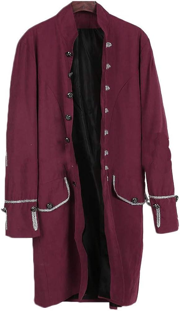 Hombres Chaqueta Traje Gotica Steampunk Vestido Victoriano Uniforme De Chaquetas Un Solo Pecho Abrigo
