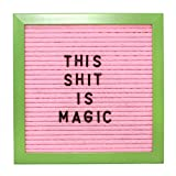 Pink Letter Board with Color Frame & Green Contrast Color Letters | Small Board 10 x 10 inches with Stand |Changeable Wood Message Board | Instagram Worthy by Espacio Vintage (Green Frame)