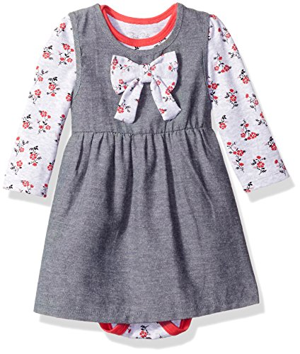 Rene Rofe Baby Baby Girls' 2 Piece Chambray Dress Set with Lap Shoulder Longsleeve Bodysuit, Pink Flowers, 18 Months