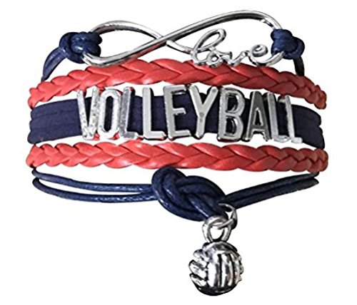 Volleyball Charm Bracelet - Infinity Love Adjustable Charm Bracelet with Volleyball Charm for Female Volleyball Players