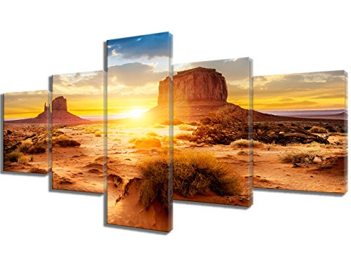 Native American Art Sunset at the Sisters in Monument Valley, USA Pictures Paintings 5 Piece Canvas Wall Art Artwork Home Decor for Living Room Framed Ready to Hang Posters and Prints(50''Wx24''H) - Monument Valley Usa Framed