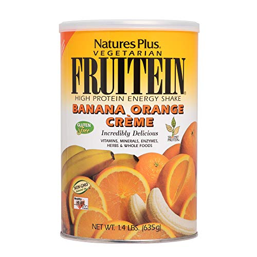 NaturesPlus Fruitein Banana Orange Cr me High Protein Energy Shake – 2.8 lbs, Vegetarian Powder – Vitamins, Minerals, Enzymes, Herbs Whole Foods – Non-GMO, Gluten-Free – 37 Servings