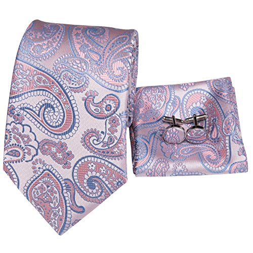 - Hi-Tie Pink Tie Woven Silk Tie Pocket Square and Cufflinks Gift Box Set Mens Wedding Tie (Pink blue paisley)
