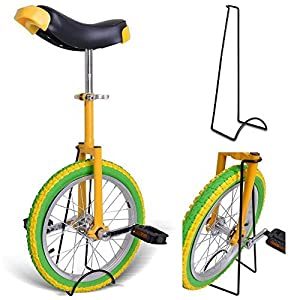 "18"" Inches Wheel Skid Proof Tread Pattern Unicycle W/ Stand Uni Cycle Bike Cycling GREEN YELLOW"