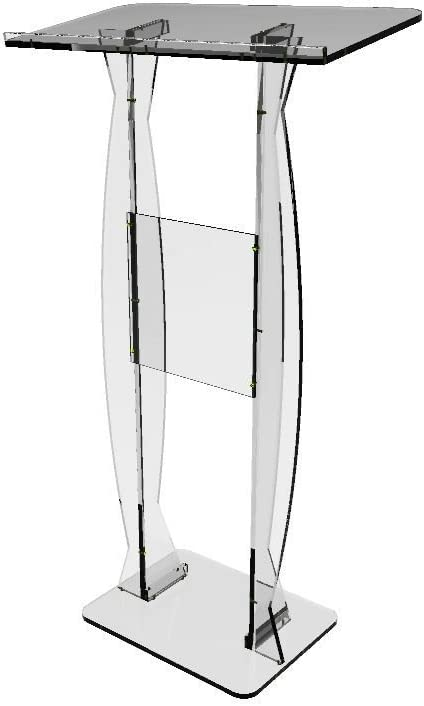 FixtureDisplays FixtureDisplays Podium Clear Ghost Acrylic Lectern or Pulpit – 15410 Easy Assembly Required15410 15410