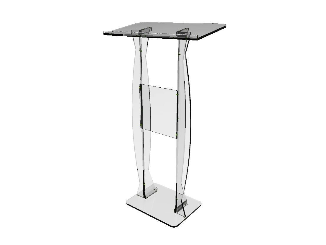 FixtureDisplays Podium Clear Ghost Acrylic Lectern or Pulpit - 15410 Easy Assembly Required 15410 by FixtureDisplays