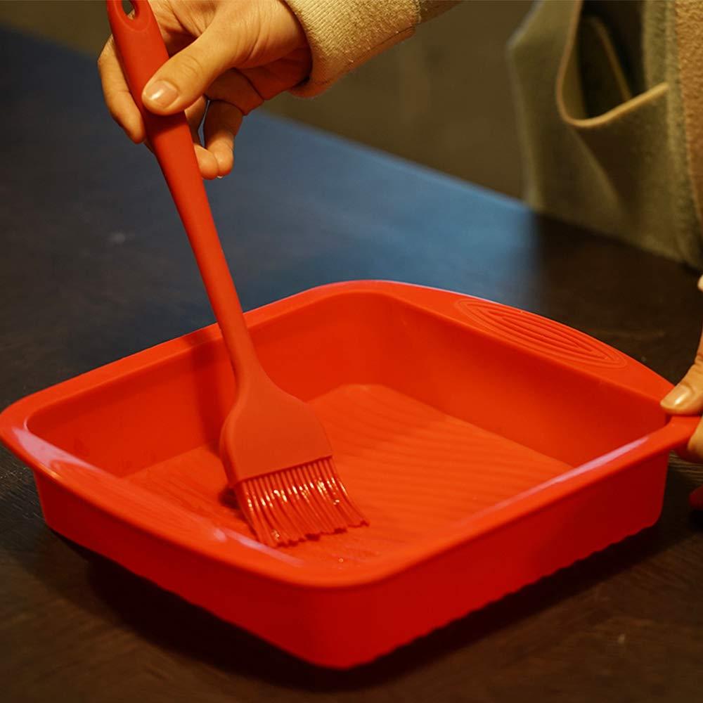 QELEG 2-Piece Non-Stick Baking Silicone Square Cake Pan Baking Mold BPA Free,9.610-Inch,Random Color
