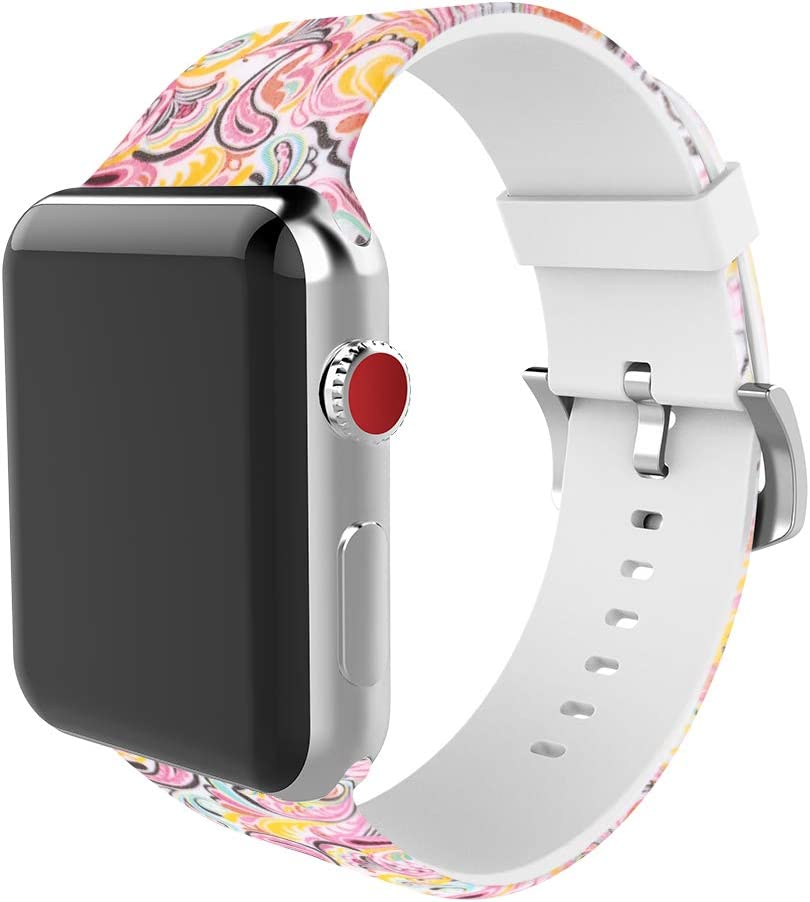 BMBEAR Sports Band Floral Bands Compatible with Apple Watch Band 38mm 40mm Soft Silicone Fadeless Pattern Printed Replacement Sport Band for iWacth Series 6 5 4 3 2 1 Cloud