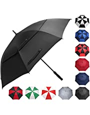 BAGAIL Golf Umbrella 68 Inch Large Oversize Double Canopy Vented Windproof Waterproof Automatic Open Stick Umbrellas for Men and Women Green/White