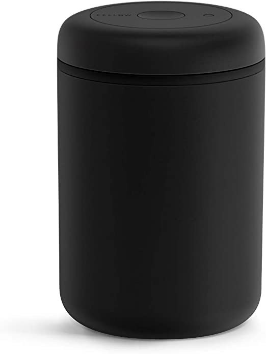 Fellow Atmos Vacuum Canister for Coffee & Food Storage - Airtight Sealed Container, Matte Black, Large Coffee Bean Storage, 1.2 Liter Jar