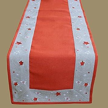 Heimtexland Weihnachten Tischlaufer In Rot Grau Silber Bestickt