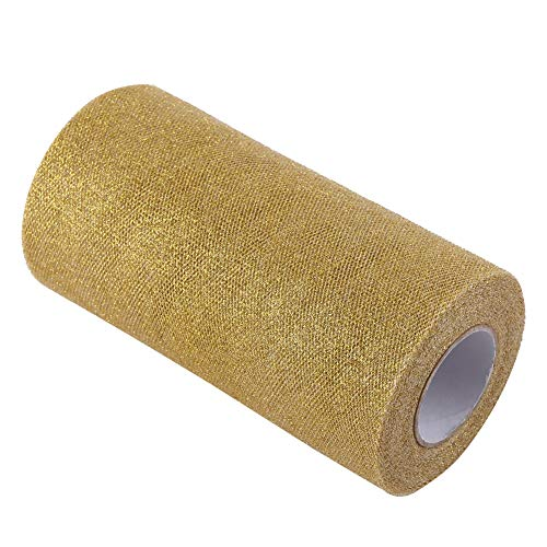 Sparkling Tulle Ribbon Roll - Glitter Tulle Roll Spool Sequin Party Supplies Wedding Decoration 6 Inch x 25 Yards(Gold)