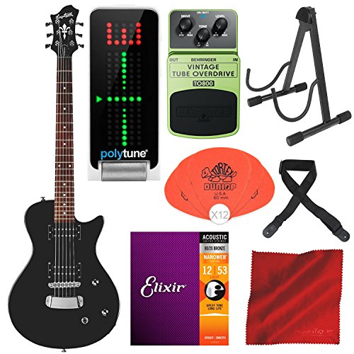 Hagstrom Ultra Swede ESN Electric Guitar Black with TC Electronic PolyTune Polyphonic Tuner, Behringer TO800 Vintage Tube Overdrive Pedal, Guitar Stand, and Deluxe Accessory Bundle