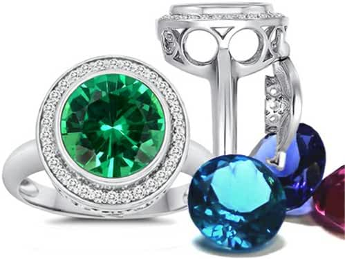 Switch-It Gems Round 10mm Simulated Emerald Halo Ring with 12 Simulated Birth Months