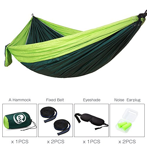CASST Camping Hammock with Tree Straps, Single & Double Outdoor Hammock, Lightweight Portable Nylon Hammock - Easy Hanging for Backpacking, Camping, Travel, Beach, Yard - 106''(L) x 55''(W) - Green by Generic