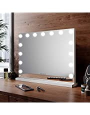 ELEGANT Hollywood Vanity Mirror, Large Makeup Mirrors with 15 LED Dimmable Bulbs Smart Touch Control, Tabletop or Wall Mounted Mirror