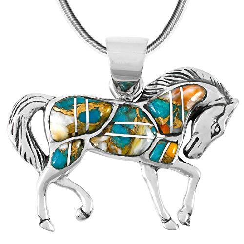- Horse Pendant Necklace 925 Sterling Silver Genuine Gemstones (20