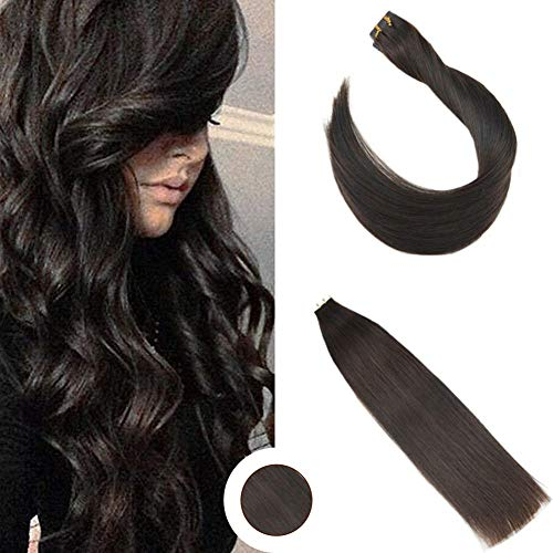 Ugeat 20pcs/50g Silky Straight Tape in Hair Extensions Human Hair Darkest Brown 2# Remy Human Hair Skin Weft Extensions 20 Inches
