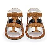 HONGTEYA Infant Toddler Summer Girls Boys Sandals PU Leather Baby Sandals Moccasins Rubber Sole First Walkers Shoes (US8/15cm/5.91'', Brown)