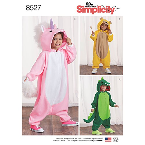 - Simplicity 8527 Children's Animal Onesie Sewing Patterns, Sizes S-L