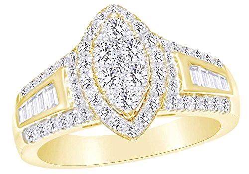 3 Ct White Natural Diamond Marquise Shape Frame Engagement Ring in 14k Yellow Gold Ring Size - 9.5 14k Yg Frame