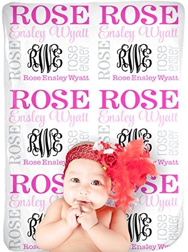 CarefreeTees Personalized Baby Name Blanket Monogrammed Gift (Vine Monogram - Sweetheart)