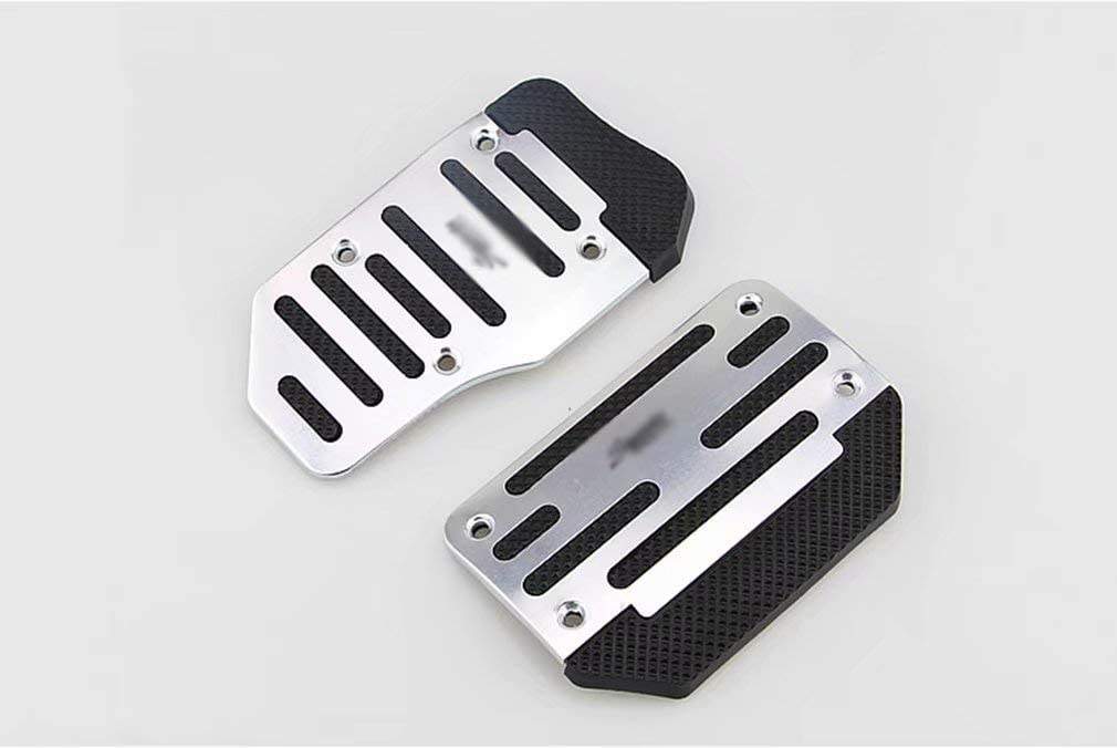 RICISUNG Step Alloy Automatic car Anti-Skid Sports Aluminum Manual car Step Brake Cover pad Pedal Foot Silver Automatic Payment