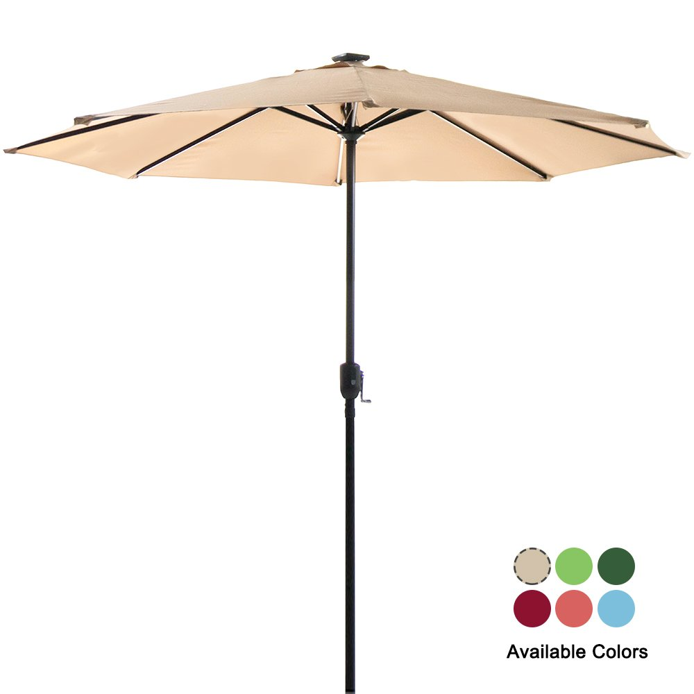 Garden Bean 9FT Deluxe Garden Umbrella with Solar LED Lights and USB Phone Charging Function Sandy