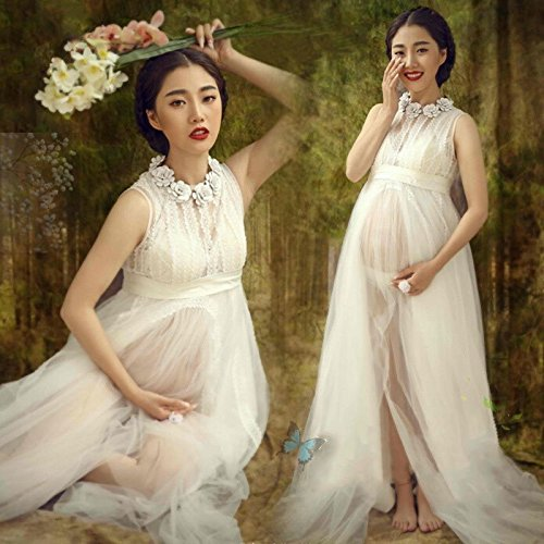 (LB Women Maternity Maxi Dress Voile Lace Gown Pregnant Photography Shoot Prop)
