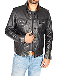 Mens REAL Black Leather Jacket Western Fitted Trucker Denim Style Jacket - Solo