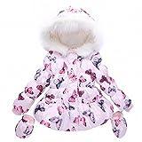 #8: belababy Toddler Girls Winter Jacket Pink Butterfly Print Hoodies