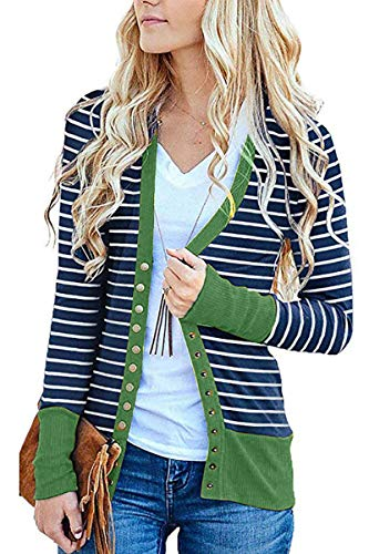 (FAFOFA Women Plus Size Outwear XXL,Stripe Button Up Long Sleeve Dolman It Cardigan Tops Green)
