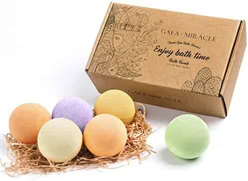 Bath Bombs Gift Set-6 Lager x 4 Oz GAEA MIRACLE Spa Bomb Fizzies-Handmade with Natural Ingredient, USA Perfume and Essential Oil-Soothe Dry Skin Relaxation-Best Gift for Women, Men, Mom and Her/Him