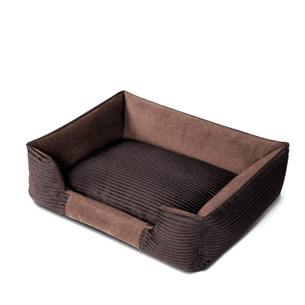 Soft and Comfortable Square pet Litter Corduroy Fabric Dog House Warm Brown Detachable Dog Bed