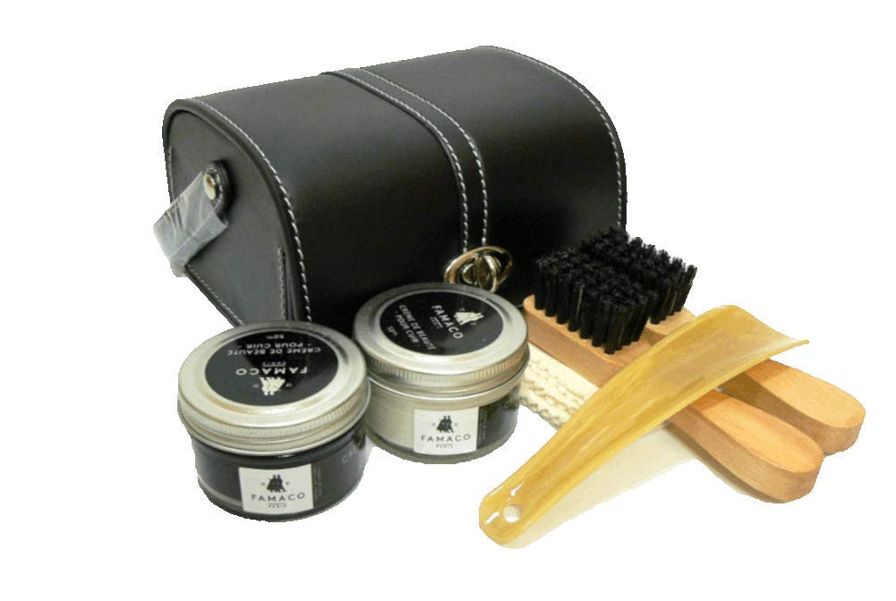 Luxury Shoe Care Kit - Travel Set - Shoes & Boots Polsih Paste with two applicators brushes.