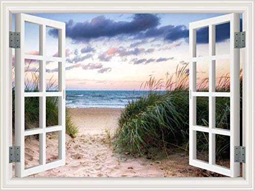 (HLJ ART Removable 3D Windows Landscape Wall Mural Home Decor Prints Painting Artwork Packed in Rolled Canvas Only (Design-B, 48x36inch))