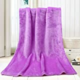 Flannel Fleece Throw Blanket Warm Fuzzy Lightweight Fleece Blankets 45X65CM Soft Throw Blanket for Couch Bedding Sofa Kids Blanket (Purple)