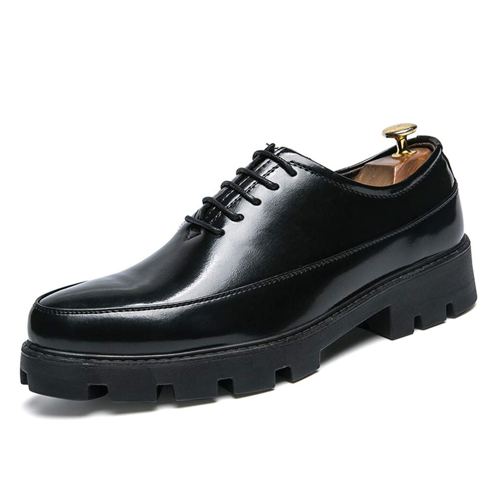 HYF Oxford Shoes Men's Business Oxford Casual Fashion Classic Outsole Waterproof Patent Leather Formal Shoes Business Shoes for Men (Color : Black, Size : 7.5 M US)